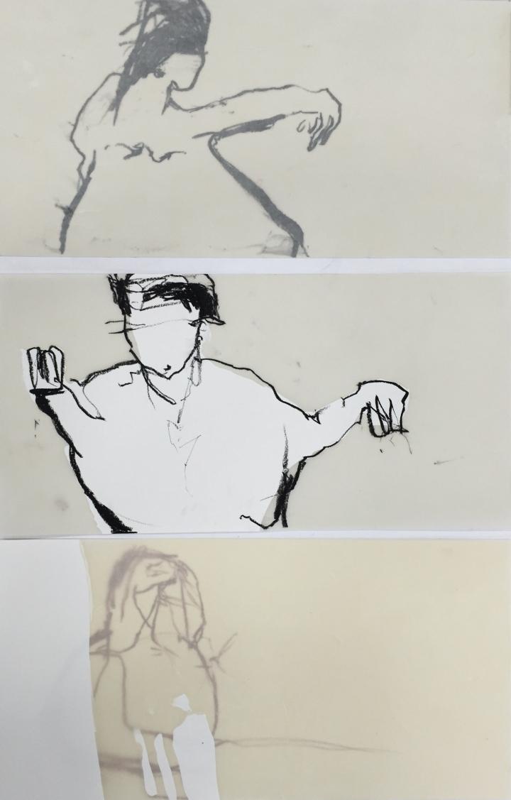 3 Skizzen, Moi, Wachs, Ölkreide