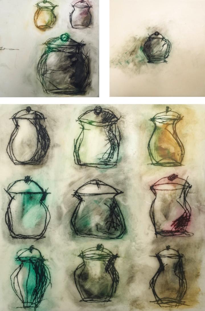 Skizzen von Gefäß mit Deckel