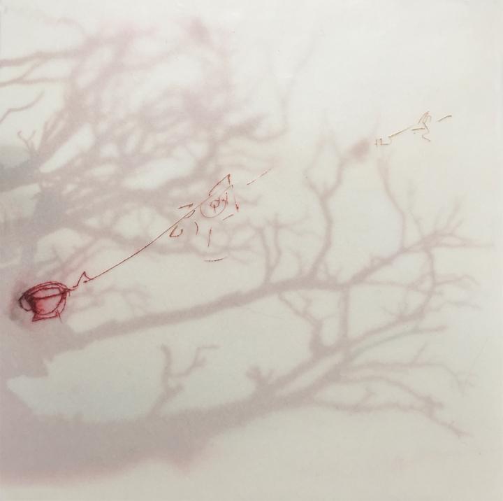 rote Bäume, rote Teetasse, Skizze