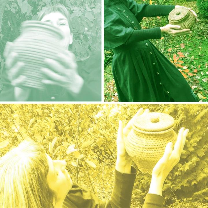 ein Tanz im Garten mit geflochtenem Gefäß