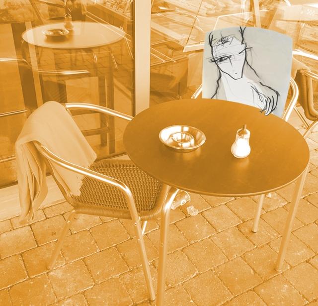 Schrat im Café