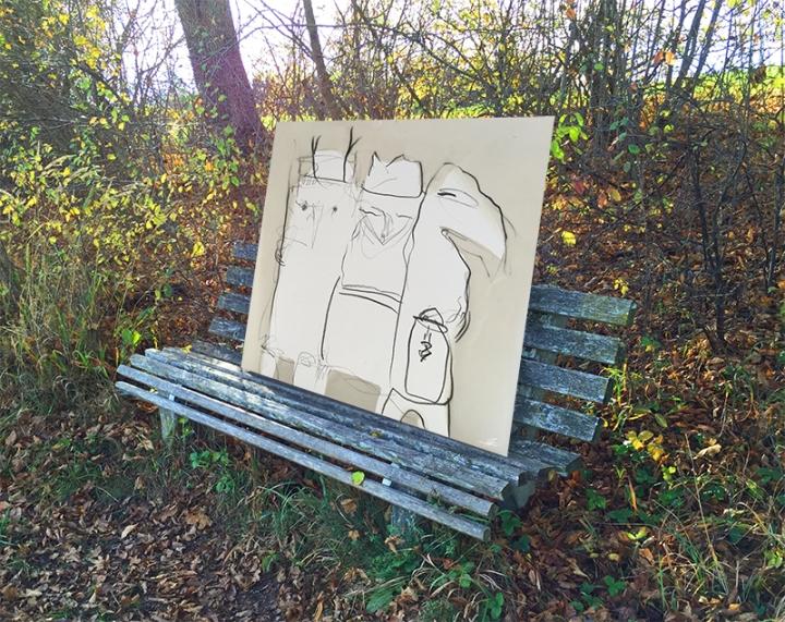 Schrate auf Parkbank